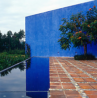 The terrace of the raised swimming pool is framed by a towering blue wall