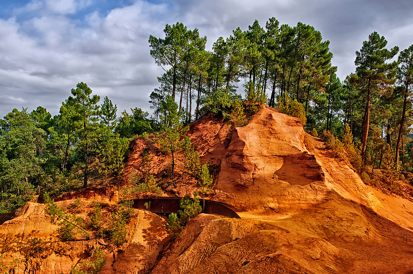 A view of part of the old ochre quarry of Roussillon, where ochre was mined for centuries to use in the construction of buildings in the village.