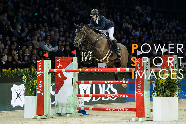 Vincent Bartin of France riding Caramba du Ruisseau Z competes in the Longines Speed Challenge during the Longines Masters of Hong Kong at AsiaWorld-Expo on 10 February 2018, in Hong Kong, Hong Kong. Photo by Diego Gonzalez / Power Sport Images