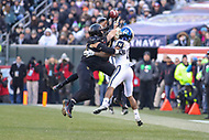 Philadelphia, PA - December 8, 2018:  Navy Midshipmen quarterback Malcolm Perry (10) breaks up an interception   during the 119th game between Army vs Navy at Lincoln Financial Field in Philadelphia, PA. (Photo by Elliott Brown/Media Images International)