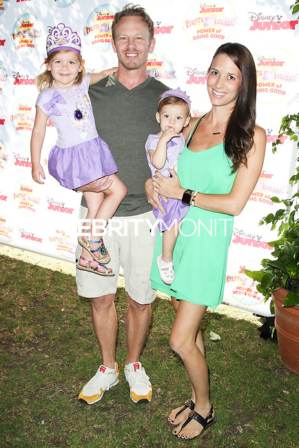 PASADENA, CA, USA - AUGUST 16: Mia Loren Ziering, Ian Ziering, Penna Mae Ziering, Erin Kristine Ludwig at the Disney Junior's 'Pirate And Princess: Power Of Doing Good' Tour held at Brookside Park on August 16, 2014 in Pasadena, California, United States. (Photo by Celebrity Monitor)