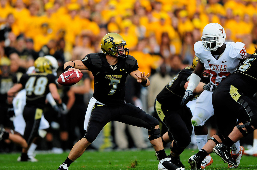 04 October 2008: Colorado quarterback Cody Hawkins passes against Texas. The Texas Longhorns defeated the Colorado Buffaloes 38-14 at Folsom Field in Boulder, Colorado. For Editorial Use Only