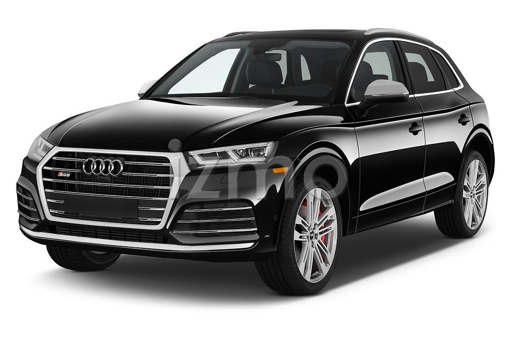 2018 Audi SQ5 Premium Plus 5 Door SUV angular front stock photos of front three quarter view