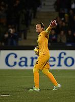 Lorient, France. - Sunday, February 8, 2015: Goalkeeper Sarah Bouhaddi (16) of France. France defeated the USWNT 2-0 during an international friendly at the Stade du Moustoir.