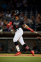 Birmingham Barons Ti'Quan Forbes (10) at bat during a Southern League game against the Chattanooga Lookouts on July 24, 2019 at Regions Field in Birmingham, Alabama.  Chattanooga defeated Birmingham 9-1.  (Mike Janes/Four Seam Images)