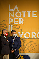 """(From R to L) Pierpaolo Bombardieri, General Secretary of UIL (Italian Labour Union, 3.) & Maurizio Landini, General Secretary of CGIL (Italian General Confederation of Labour, 1.).<br /> <br /> Rome, 29/07/2020. Today, the three main Italian Trade Unions: CGIL (Italian General Confederation of Labour, General Secretary Maurizio Landini, 1.), CISL (Italian Confederation of Workers' Trade Union, General Secretary Anna Maria Furlan, 2.), UIL (Italian Labour Union, General Secretary Pierpaolo Bombardieri, 3.). held a demonstration in Piazza Santi Apostoli called """"La notte per il Lavoro. Ricostruire il Paese e l'Europa partendo dal buon lavoro"""" (The night for work. Rebuilding Italy and Europe from the good work). Given the crisis caused by the pandemic Covid-19 / Coronavirus, the three General Secretaries asked the Government to block layoffs, an extension of the social safety nets until the end of the year, a tax reform and the fight against tax evasion, the private and public national contractual renewals, investments, health, safety at work, Research, culture, tangible and intangible infrastructures, stable work, digitalization, South of Italy, social security, law on non self-sufficiency, social inclusion and solution of open company crises. Moreover, to urge the government to start an urgent discussion to plan the spending strategy that is about to be launched to use the resources of the EU """"Recovery Fund"""".<br /> <br /> Footnotes & Links:<br /> 1. http://cgil.it/ & https://bit.ly/2E1Al5a (Wikipedia)<br /> 2. https://www.cisl.it /& https://bit.ly/2tj5Txa (Wikipedia)<br /> 3. http://www.uil.it/ & https://bit.ly /2Glf88D (Wikipedia)<br /> 09.02.19 CGIL, CISL, UIL - Trade Unions National Demo in Rome #FuturoalLavoro http://bit.do/fG7GK"""
