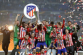 16th May 2018, Stade de Lyon, Lyon, France; Europa League football final, Marseille versus Atletico Madrid; Fernando Torres of Atletico Madrid lifts the Europa League Trophy with his team and Atletico Madrid manager Diego Simeone as Atletico Madrid defeat Marseille 3-0