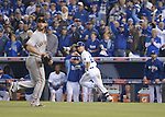 Norichika Aoki (Royals),<br /> OCTOBER 29, 2014 - MLB :<br /> Pitcher Madison Bumgarner of the San Francisco Giants gets Norichika Aoki of the Kansas City Royals to line out to left in the bottom of the fifth inning during Game 7 of the 2014 Major League Baseball World Series against at Kauffman Stadium in Kansas City, Missouri, United States. (Photo by AFLO)