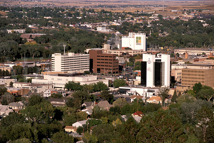 Downtown Rapid City South Dakota view from Dinosaur Park Skyline Drive.