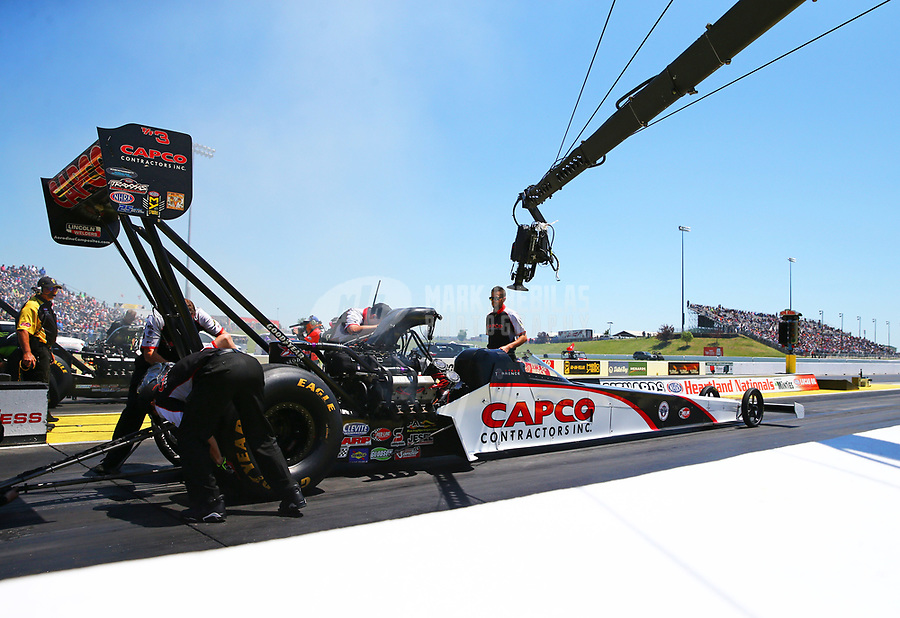 May 21, 2017; Topeka, KS, USA; NHRA top fuel driver Steve Torrence during the Heartland Nationals at Heartland Park Topeka. Mandatory Credit: Mark J. Rebilas-USA TODAY Sports
