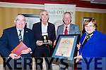 Killarney Mayor Brendan Cronin presents the Mon Hugh O'Flaherty humanitarian award to Fr Shay Cullen in the killarney Avenue Hotel on Saturday night front row l-r: Senator Paul Coughlan, Fr Shay Cullen, Brendan Cronin and Pearl Dineen