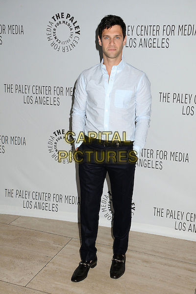 "Justin Bartha.PaleyFest Fall TV Preview - ""The New Normal"" held at The Paley Center, Beverly Hills, California, USA..September 5th, 2012.full length hands in pockets black trousers blue shirt.CAP/ADM/BP.©Byron Purvis/AdMedia/Capital Pictures."