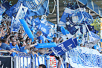 Fans der Lilien bejubeln ihre Mannschaft - 05.08.2018: SV Darmstadt 98 vs. SC Paderborn 07, Stadion am Boellenfalltor, 1. Spieltag 2. Bundesliga<br /> <br /> DISCLAIMER: <br /> DFL regulations prohibit any use of photographs as image sequences and/or quasi-video.