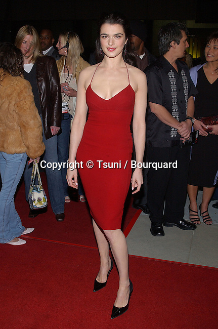 Rachel Weisz arriving at the premiere of Confidence at the Academy of Motion Pictures in Los Angeles.  April 15, 2003.