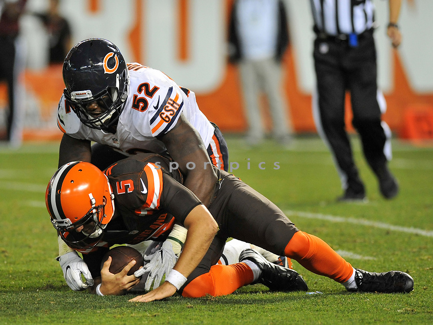 CLEVELAND, OH - SEPTEMBER 1, 2016: Linebacker Christian Jones #52 of the Chicago Bears sacks quarterback Cody Kessler #5 Cleveland Browns in the third quarter of a game on September 1, 2016 at FirstEnergy Stadium in Cleveland, Ohio. Chicago won 21-7. (Photo by: 2016 Nick Cammett/Diamond Images)  *** Local Caption *** Christian Jones; Cody Kessler