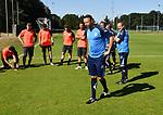 2018-07-15 / Voetbal / Seizoen 2018-2019 / Eerste training Dessel Sport / Trainer Patrick Witters spreekt zijn spelers toe voor aanvang van de eerste training<br /> <br /> ,Foto: Mpics