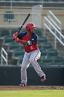 Anderson Franco (6) of the Hagerstown Suns at bat against the Kannapolis Intimidators at Kannapolis Intimidators Stadium on July 10, 2017 in Kannapolis, North Carolina.  The Suns defeated the Intimidators 8-5.  (Brian Westerholt/Four Seam Images)