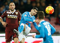 Napoli's Elseid Hysaj during the  italian serie a soccer match,between SSC Napoli and Torino      at  the San  Paolo   stadium in Naples  Italy , January 07, 2016