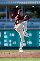 Frisco RoughRiders pitcher Brock Burke (23) during a Texas League game against the Amarillo Sod Poodles on July 12, 2019 at Dr Pepper Ballpark in Frisco, Texas.  (Mike Augustin/Four Seam Images)