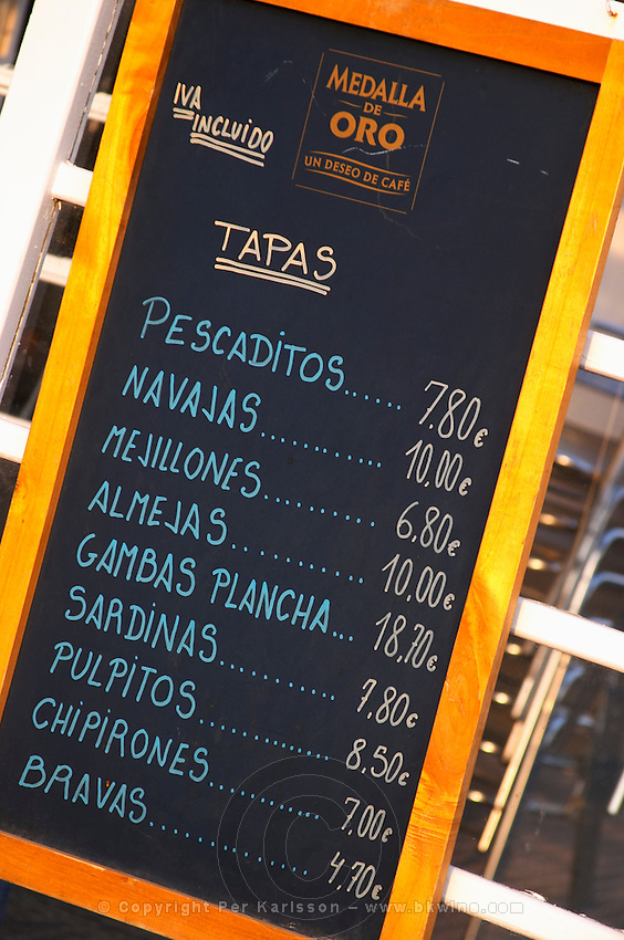 Tapas menu on a restaurant cafe. Sitges, Catalonia, Spain