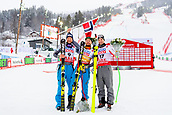 9th February 2019, ARE, Sweden; Aksel Lund Svindal, Kjetil Jansrud of Norway and Vincent Kriechmayr of Austria celebrate after the mens downhill during the FIS Alpine World Ski Championships on February 9, 2019 in Are.