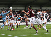 Craig Samson stretching to get a hand on the ball in the St Mirren v Heart of Midlothian Clydesdale Bank Scottish Premier League match played at St Mirren Park, Paisley on 15.9.12.