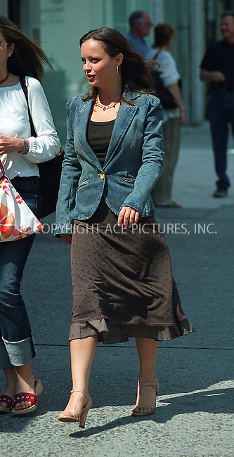 """Christina Ricci on the set of Woody Allen's film which has a project title """"Anything Else"""" or """"Woody Allen's Summer 2002 Project"""" in West Village in New York. June 19, 2002. Please byline: Alecsey Boldeskul/NY Photo Press.   ..*PAY-PER-USE*      ....NY Photo Press:  ..phone (646) 267-6913;   ..e-mail: info@nyphotopress.com"""