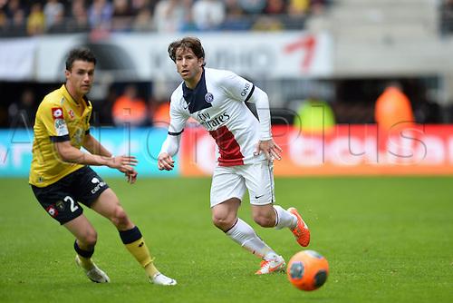 27.04.2014. Montbéliard, France. French League 1 football league. Sochaux versus Paris St Germain.   Maxwell (psg) - Sebastien Corchia (soc)