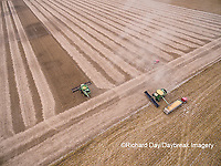 63801-09007 Soybean Harvest, 2 John Deere combines harvesting soybeans - aerial - Marion Co. IL