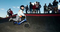 NWA Democrat-Gazette/BEN GOFF @NWABENGOFF<br /> Beckett McGraw, 4, of Bentonville races Wednesday, Oct. 10, 2018, during the Strider Bikes pump track races at The Jones Center's Runway Bike Park in Springdale. Jesse McCourt of Springdale was the overall winner for the age group, with McGraw second. Children ages 3-6, divided into two age groups, raced head-to-head to see who was the fastest on the balance bikes designed to help young children learn how to ride. It was the first competetive event to use the new pump track that was built to host the Red Bull Pump Track World Championship Final coming up Saturday.