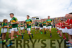 Sean O'Shea , Ronan Shanahan, Donnchadh Walsh, Jack Barry Kerry team takes to the field before the Munster Senior Football Final at Fitzgerald Stadium on Sunday.