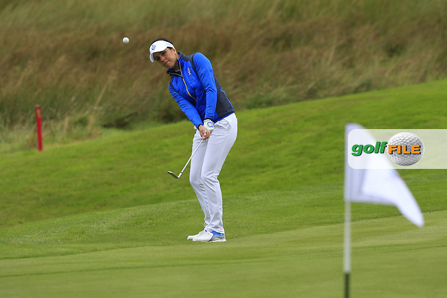 Georgia Hall (EUR) on the 1st during Day 3 Singles at the Solheim Cup 2019, Gleneagles Golf CLub, Auchterarder, Perthshire, Scotland. 15/09/2019.<br /> Picture Thos Caffrey / Golffile.ie<br /> <br /> All photo usage must carry mandatory copyright credit (© Golffile | Thos Caffrey)