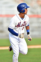 Kingsport Mets second baseman Jean Rodriguez #1 runs to first during a game against the Johnson City Cardinals at Hunter Wright Stadium August 24, 2014 in Kingsport, Tennessee. The Mets defeated the Cardinals 9-1. (Tony Farlow/Four Seam Images)