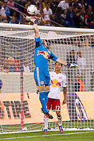 New York Red Bulls goalkeeper Bill Gaudette (88) pushes a shot over the bar. The New York Red Bulls defeated the Columbus Crew 3-1 during a Major League Soccer (MLS) match at Red Bull Arena in Harrison, NJ, on September 15, 2012.