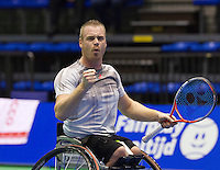 Rotterdam, Netherlands, December 20, 2015,  Topsport Centrum, Lotto NK Tennis, Final mens wheelchair Maikel Scheffers (NED) winner jubilates<br /> Photo: Tennisimages/Henk Koster