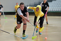 New Zealand's Georgia Kibblewhite and Malaysia's Fathih Hansi Binti Che Husain in action during the World Floorball Championships 2017 Qualification for Asia Oceania Region - New Zealand v Malaysia at ASB Sports Centre , Wellington, New Zealand on Saturday 4 February 2017.<br /> Photo by Masanori Udagawa<br /> www.photowellington.photoshelter.com.