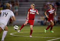 Conny Pohlers (16) of the Washington Spirit flicks the ball backwards at the Maryland SoccerPlex in Boyds, MD. The Washington Spirit tied FC Kansas City, 1-1.