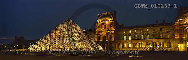 Tom Mackie, LANDSCAPES, panoramic, photos, The Louvre at Night, Paris, France, GBTM010163-1,#L#