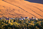 The downtown area of the Missoula, Montana valley at sunset