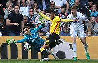 Etienne Capoue of Watford rounds keeper Lukasz Fabianski of Swansea City to scores his sides first goal of the match as defender Alfie Mawson of Swansea City watches  during the Premier League match between Watford and Swansea City at Vicarage Road Stadium, Watford, England, UK. Saturday 15 April 2017