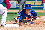 13 March 2014: New York Mets outfielder Matt den Dekker dives safely back to first during a Spring Training game against the Washington Nationals at Space Coast Stadium in Viera, Florida. The Mets defeated the Nationals 7-5 in Grapefruit League play. Mandatory Credit: Ed Wolfstein Photo *** RAW (NEF) Image File Available ***
