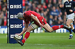Jonathan Davies of Wales crosses the line to score a try - RBS 6Nations 2015 - Scotland  vs Wales - BT Murrayfield Stadium - Edinburgh - Scotland - 15th February 2015 - Picture Simon Bellis/Sportimage