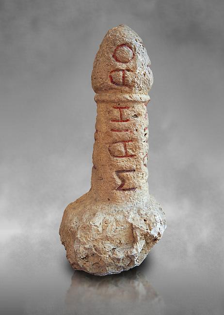 Roman erotic stone phallus  found in Pompeii,  Secret Museum or Secret Cabinet, Naples Archaeological Museum , grey art background