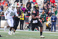 College Park, MD - November 3, 2018: Maryland Terrapins quarterback Kasim Hill (11) scrambles during the game between Michigan St. and Maryland at  Capital One Field at Maryland Stadium in College Park, MD.  (Photo by Elliott Brown/Media Images International)