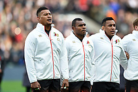 Nathan Hughes and Semesa Rokoduguni of England sing the national anthem. Old Mutual Wealth Series International match between England and Argentina on November 11, 2017 at Twickenham Stadium in London, England. Photo by: Patrick Khachfe / Onside Images