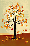 Illustrative image of maple tree in autumn representing the concept of recession