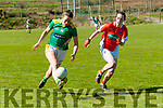 Kerry V Armagh Ladies GAA: Kerry's Anna Galvin solos away from Armagh's Sarah Marley in their LIDL National Football league Round 6 game in the Duagh GAA grounds on Sunday last