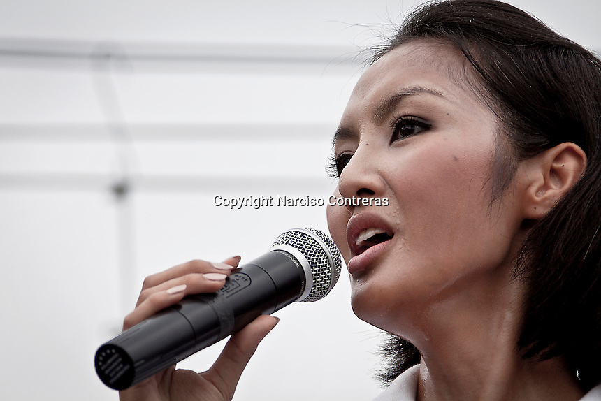 """YOLLANDA """"NOK"""" SUANYOT gives a speech to voters in downtown streets as she stands for elections in northern Nan province, Thailand. Known formerly as a beauty queen, is running today a political campaign for the local rule of Nan city. 30-year-old Yollada Suanyot, who was born a male, has become the first transgender to register as an election candidate. The upcoming elections will be held on May 27th in 24 constituencies in 15 districts. In accord with the Thai media this is the first time in Thailand that a transgender is taking part in a provincial election.."""