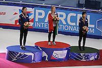 "SHORT TRACK: MOSCOW: Speed Skating Centre ""Krylatskoe"", 14-03-2015, ISU World Short Track Speed Skating Championships 2015, Podium Ladies 1500m, Suk Hee SHIM (KOR), Arianna FONTANA (ITA), Minjeong CHOI (KOR), ©photo Martin de Jong"