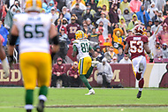 Landover, MD - September 23, 2018: Green Bay Packers wide receiver Geronimo Allison (81) catches a touchdown pass right before halftime during game between the Green Bay Packers and the Washington Redskins at FedEx Field in Landover, MD. The Redskins get the win 31-17 over the visiting Packers. (Photo by Phillip Peters/Media Images International)
